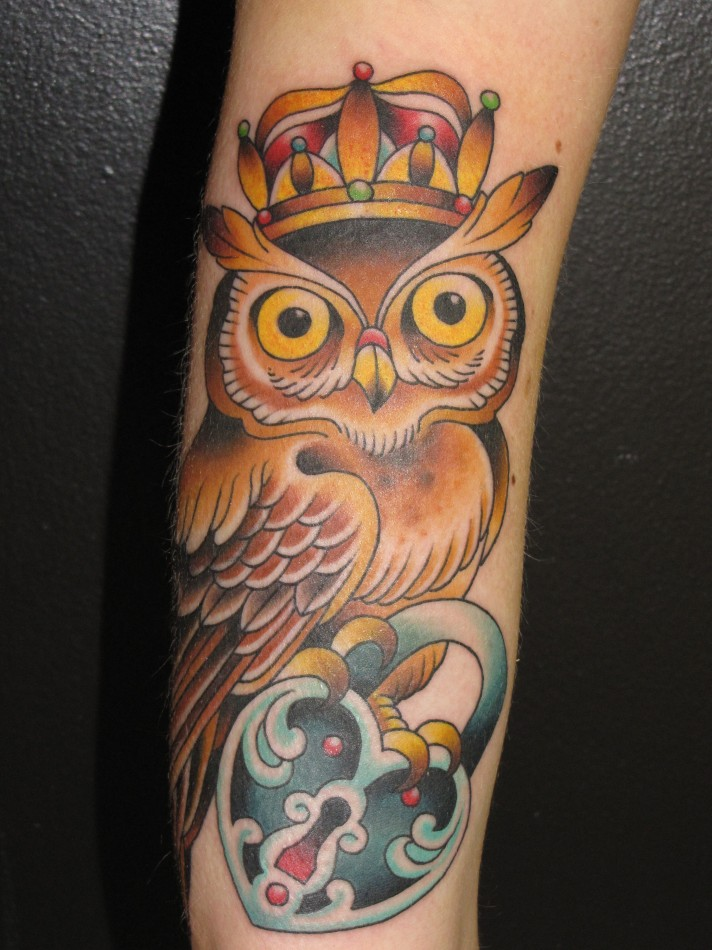 Owl and locket tattoo
